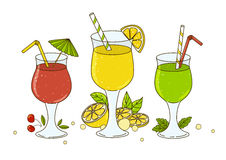 Set of color cocktails  on white Stock Image