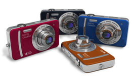 Set of color compact digital cameras Royalty Free Stock Image