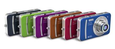 Set of color compact digital cameras vector illustration