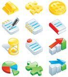 Set of color computer icons. Computer icons for web design - gold bars, dollar sign, coins, note, book, hourglass, charts, puzzle Stock Photography