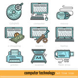 Set of Color Computer Technology Outline Web Icons Stock Images
