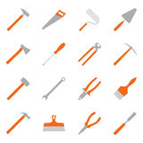 Set of color construction tools, illustration Stock Photo