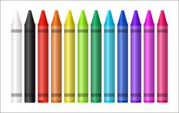 Set of a color crayon on white background. A set of a color crayon on white background vector illustration