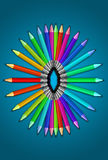 Set of color crayons pallete Stock Photos