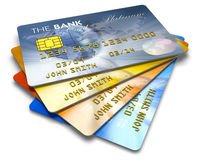 Set of color credit cards. Isolated on white background Royalty Free Stock Photos