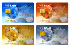 Set of color credit cards. Isolated on white background Royalty Free Stock Images
