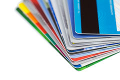 Set of color credit cards isolated Stock Photos