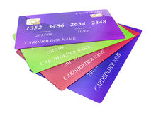 Set of color credit cards isolated on white background.  Stock Photos