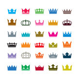 Set of color crowns. Vector Icons Royalty Free Stock Photography