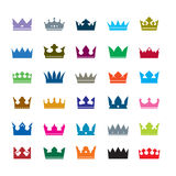 Set of color crowns. Vector Icons Stock Photo