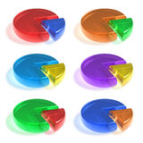 Set of color crystal pie charts Stock Image