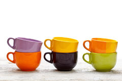 Set of  color cups Stock Photos