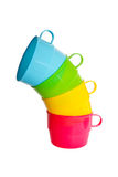 Set of color cups Stock Images