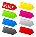 Set of color 3D arrows. Set of a lot of color 3D arrow signs Stock Images