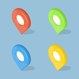 Set of color 3d GPS pointers isolated on blue. Background. Isometric vector icons illustration Royalty Free Stock Images