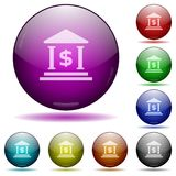 Dollar bank glass sphere buttons. Set of color dollar bank glass sphere buttons with shadows Royalty Free Stock Image