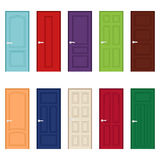 Set of color door icons, vector illustration Royalty Free Stock Image