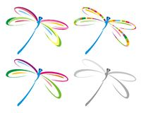 Set of color dragonfly. Stock Images