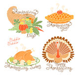 Set of color drawings to Thanksgiving Day. Autumn harvest, Traditional holiday meal,  turkey, pumpkin pie, cornucopia Stock Photos