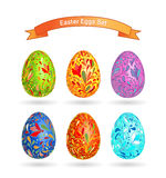 Set of color Easter eggs. Doodle ornate pattern Stock Photos