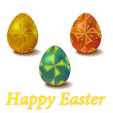 Set of color Easter eggs with ornament windmill Stock Photo