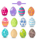 Set of color easter eggs Royalty Free Stock Images