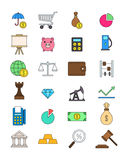 Set of color economy icons. Set of 24 of color economy icons Stock Photography