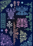 Set of color elements on dark blue Stock Image