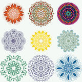 Set of color ethnic ornamental floral patterns. Hand drawn manda Stock Photo