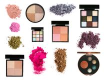 Set of color eyeshadows and blush palettes. Big set of color eyeshadows and blush palettes and samples isolated on white Royalty Free Stock Images