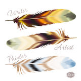 Set of color feather in boho style Royalty Free Stock Image