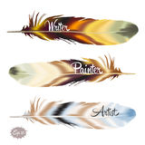 Set of color feather in boho style Stock Images
