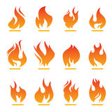 Set of color fire icon Stock Photography