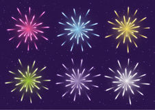 Set of color fireworks Stock Images