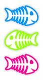 Set of color fish bone stickers Stock Photo