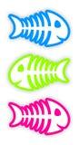 Set of color fish bone stickers. Set of three color fish bone stickers Stock Photo