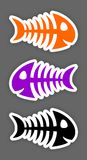 Set of color fish bone stickers. Set of three color fish bone stickers Stock Images