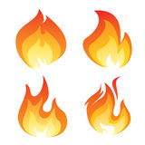 Set of color flame icon Stock Images