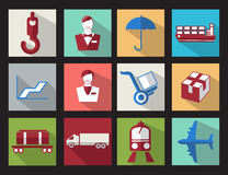 Set color flat design icons cargo business Royalty Free Stock Photos