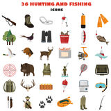 Set of color flat hunting and fishing color flat icons. Flat icons set for web and mobile design Stock Photo
