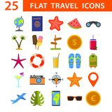Big set of color icons for travel, Modern flat icons vector collection royalty free illustration