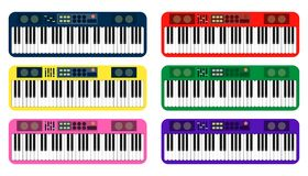 Set of color flat style vector piano roll analog synthesizer faders buttons knobs display on white background. EPS Stock Images