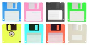 Set of color  floppy disk isolated on white. Background Royalty Free Stock Photography