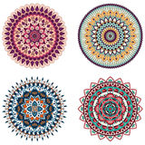 Set of color floral mandalas, vector illustration Royalty Free Stock Photos