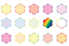 Set of color flower outlines Stock Photos