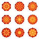 Set of color flowers flat icons. Red and yellow flowers geometric symbols Royalty Free Stock Images