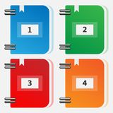 Set of color folders for files. Icons of multi-colored folders. Vector numbered folders Stock Photo