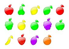 Set of color fruit. Illustration with shine Royalty Free Stock Image