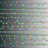 Set of color garland lights. Glowing christmas lights on transparent background. Vector seamless horizontal objects. Realistic luminous garland. Includes 10 stock illustration