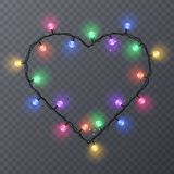 Set of color garlands, festive decorations. Glowing christmas lights isolated on transparent background. Frame with. Set of color garlands, festive decorations Royalty Free Stock Photos